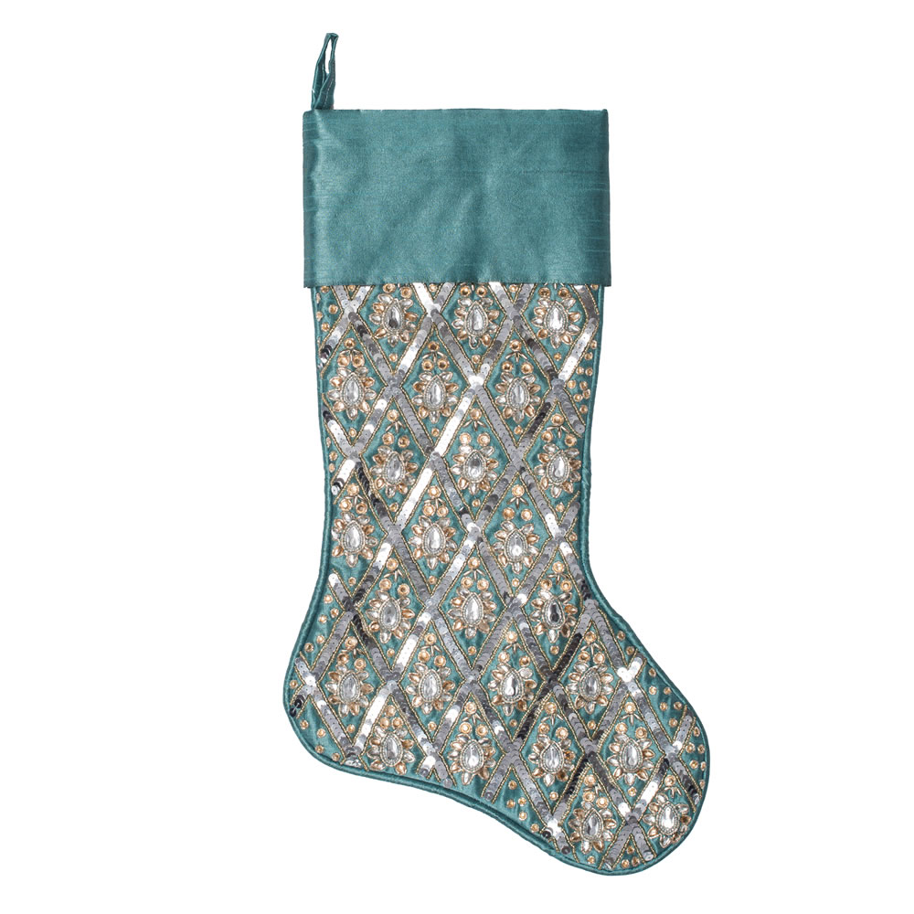 20 Inch Turquoise Sequin Diamond Decorative Christmas Stocking
