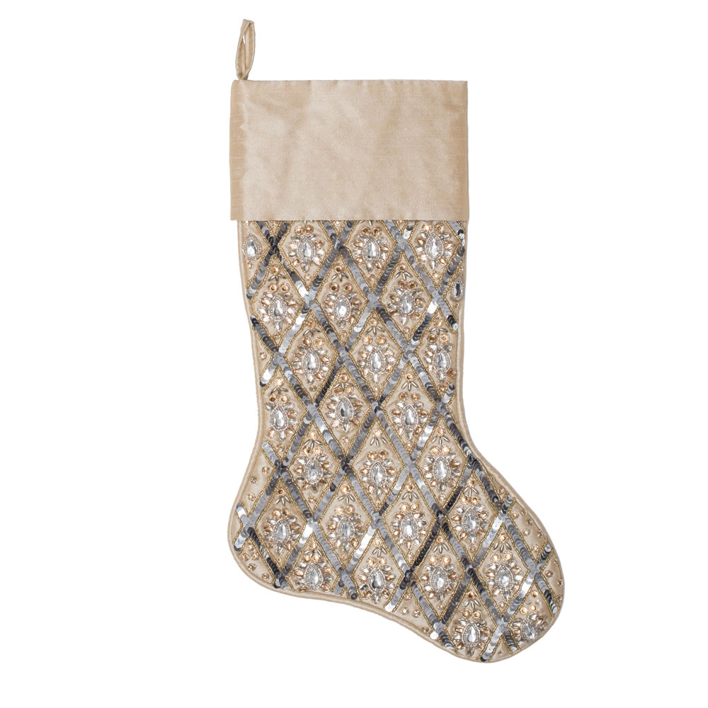 20 Inch Champagne Sequin Diamond Decorative Christmas Stocking