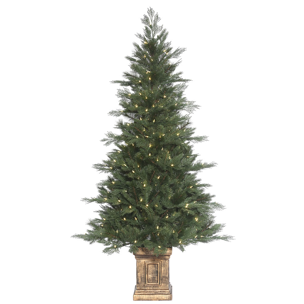 6 Foot Cedar Mixed Pine Artificial Potted Christmas Tree 300 DuraLit LED Warm White Mini Lights