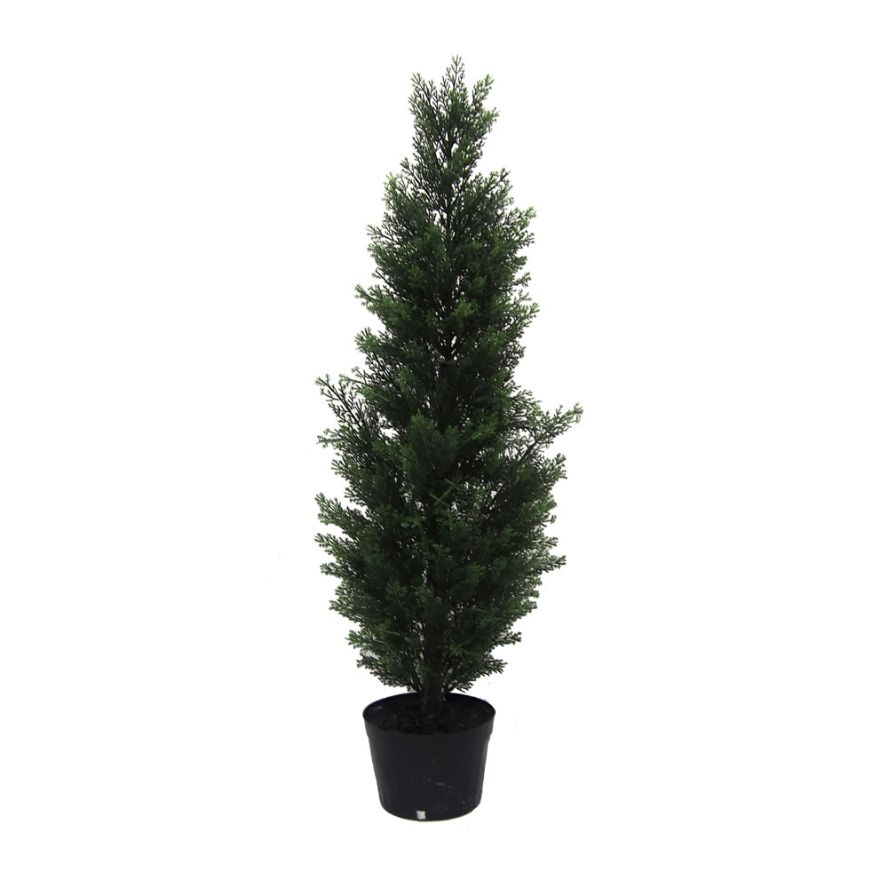 3 Foot Green Cedar Artificial Potted Christmas Tree Unlit
