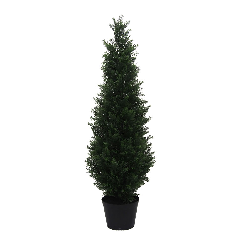 4 Foot Green Cedar Artificial Potted Christmas Tree Unlit