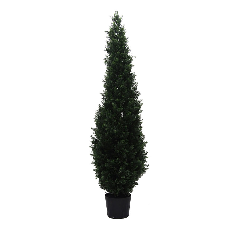 6 Foot Green Cedar Artificial Potted Christmas Tree Unlit