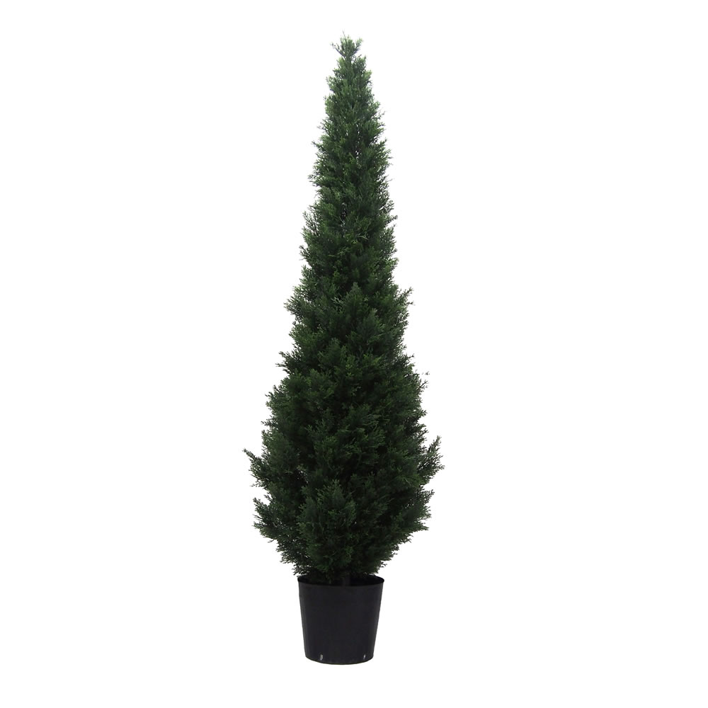 7 Foot Green Cedar Artificial Potted Christmas Tree Unlit