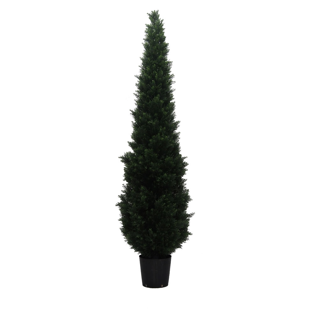 8 Foot Green Cedar Artificial Potted Christmas Tree Unlit