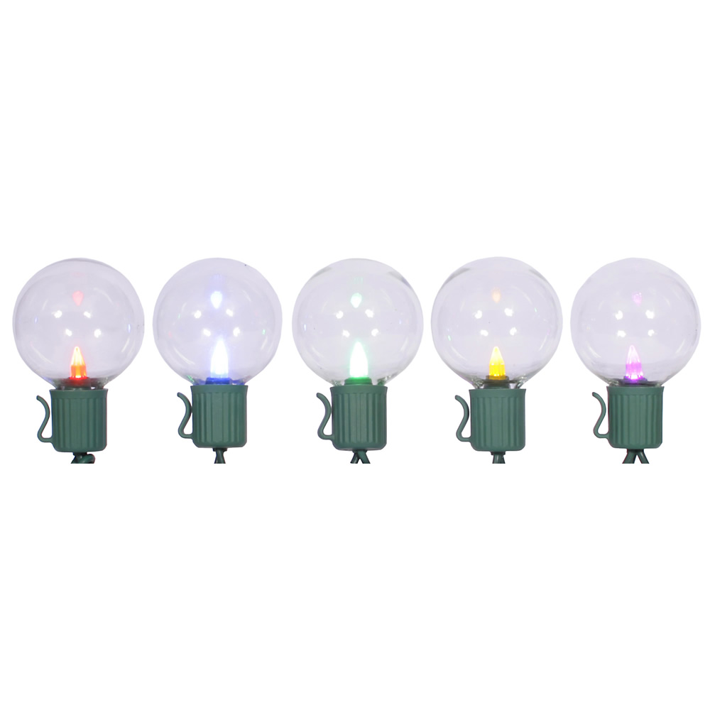 10 LED Multi-Colored G40 Globe Lights Green Wire