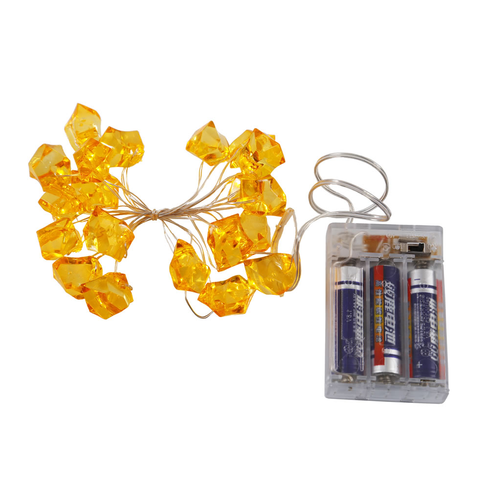 20 Battery Operated LED Ice Cube Gold Christmas Light Set 6 Hour Timer