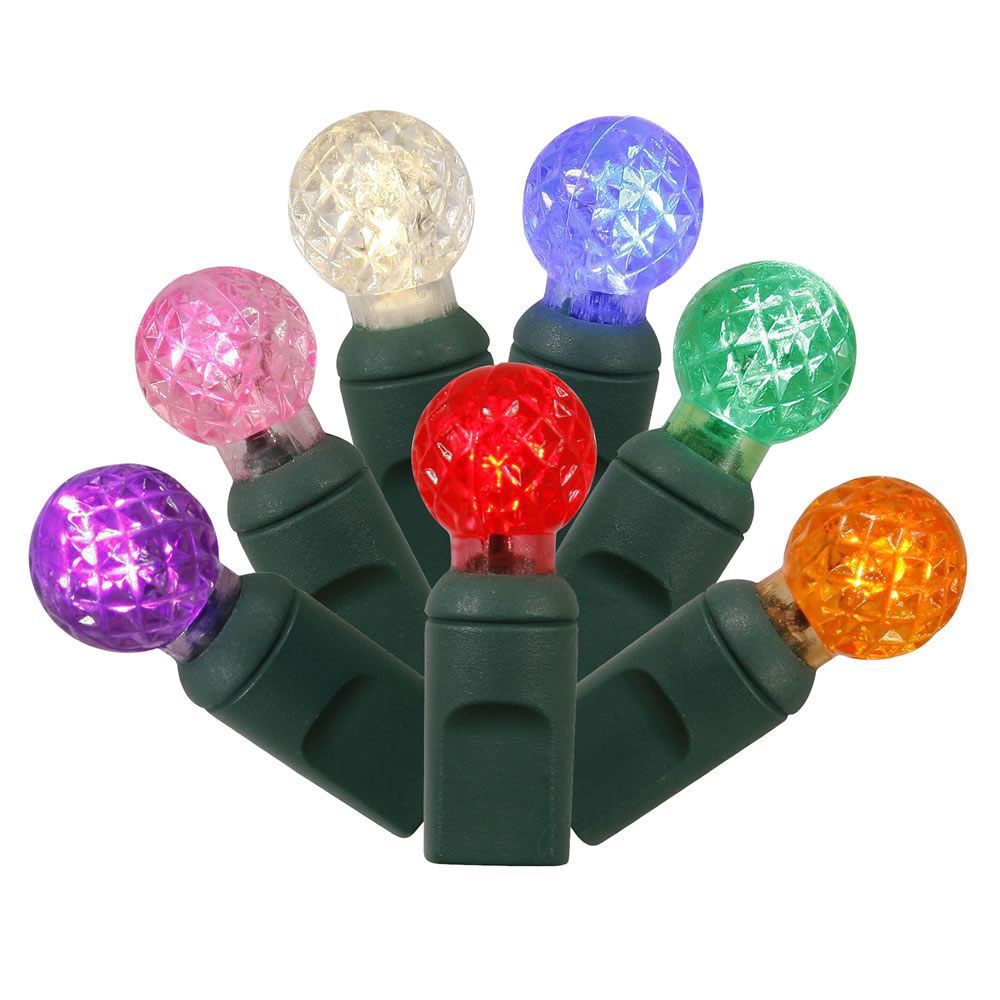 100 Commercial Grade LED G12 Berry Globe Faceted Multi Color Christmas Light Set Green Wire