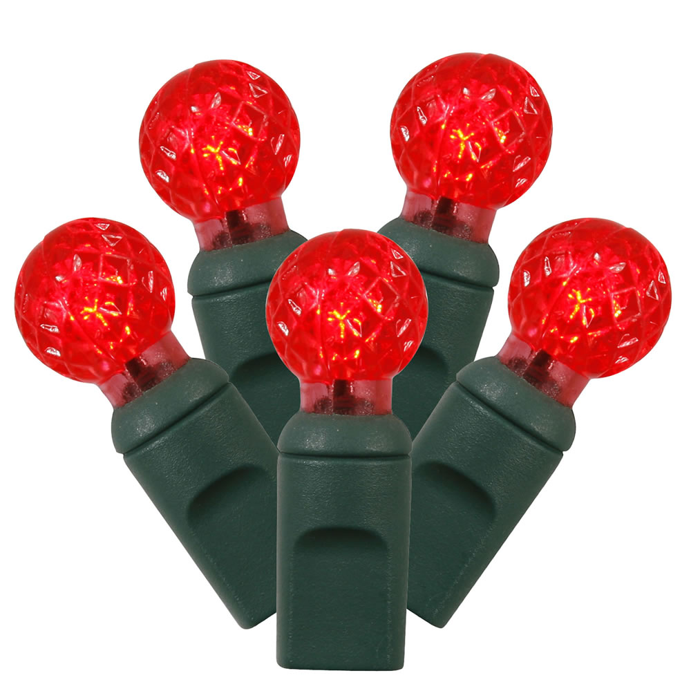100 Commercial Grade LED G12 Berry Globe Faceted Red Christmas Light Set Green Wire