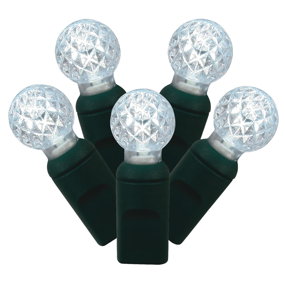 100 Commercial Grade LED G12 Berry Globe Faceted Pure White Christmas Light Set Green Wire Polybag