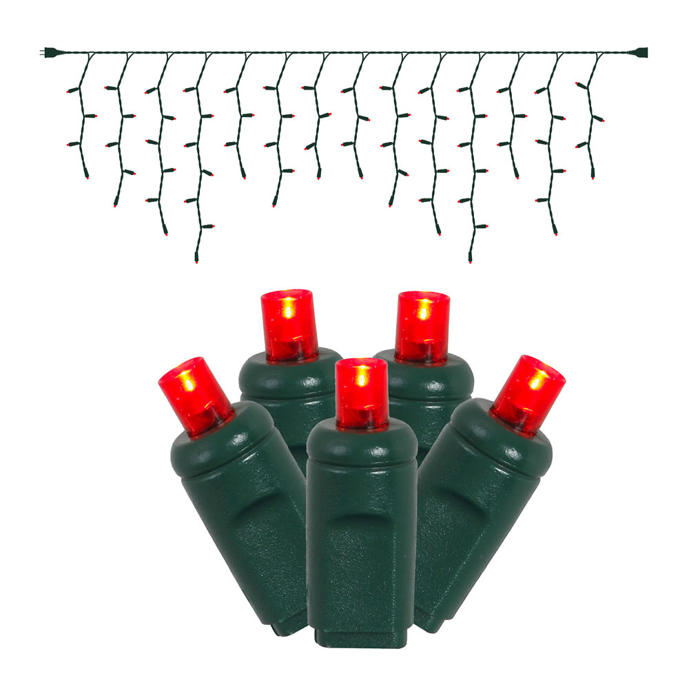 ​70 LED Wide Angle Icicle Red Christmas Light Set Green Wire