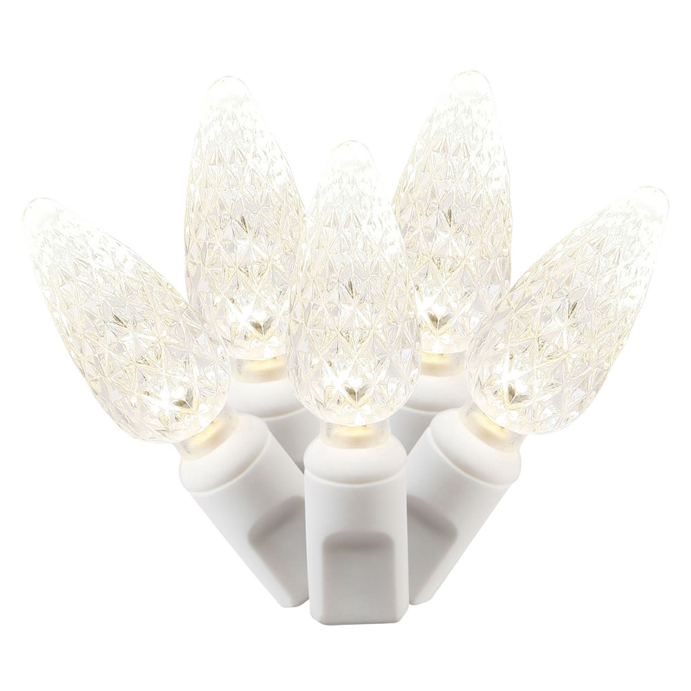 50 commercial grade led c6 strawberry faceted warm white christmas light set white wire poly bag
