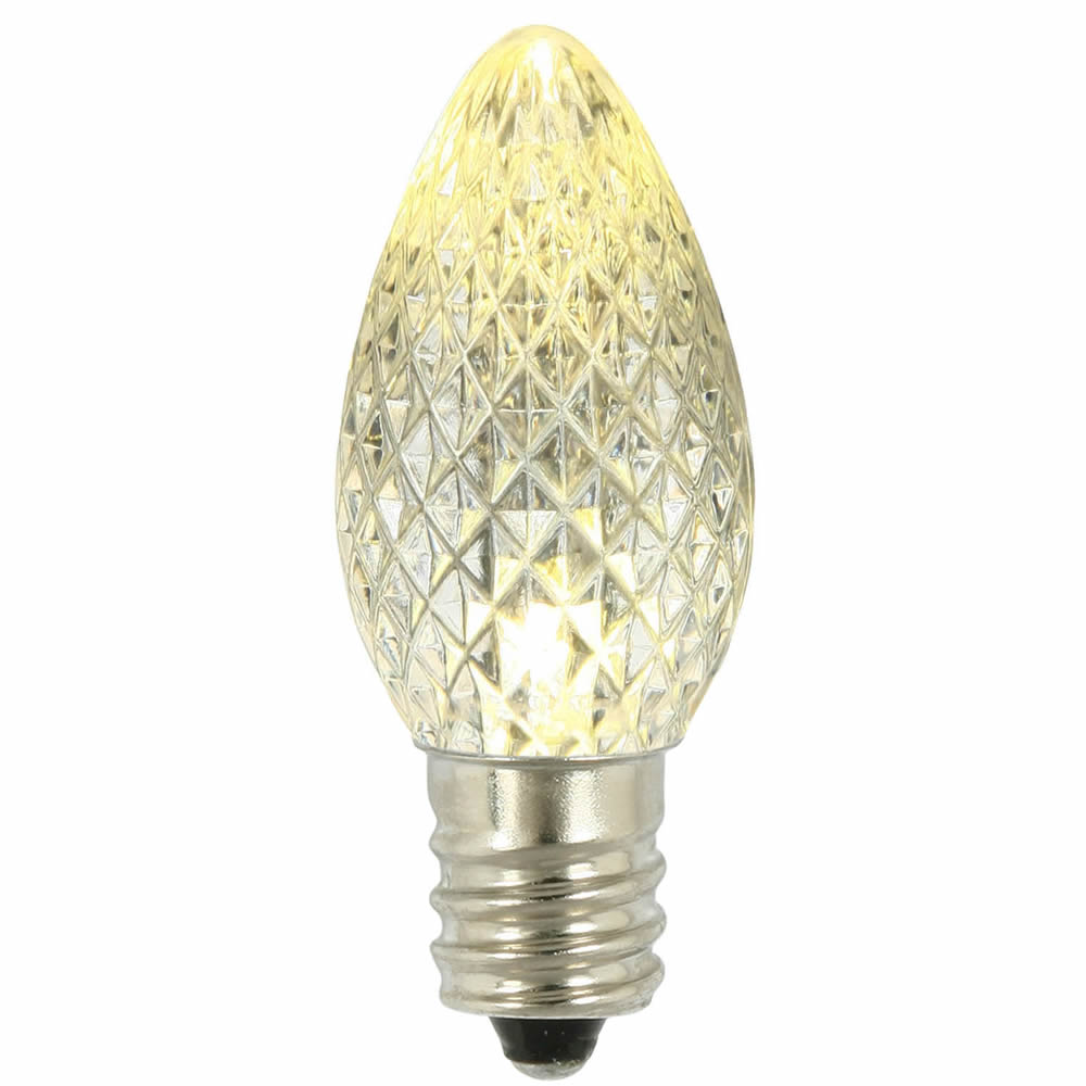 25 LED C7 Warm White Faceted Retrofit Night Light Christmas Replacement Bulbs