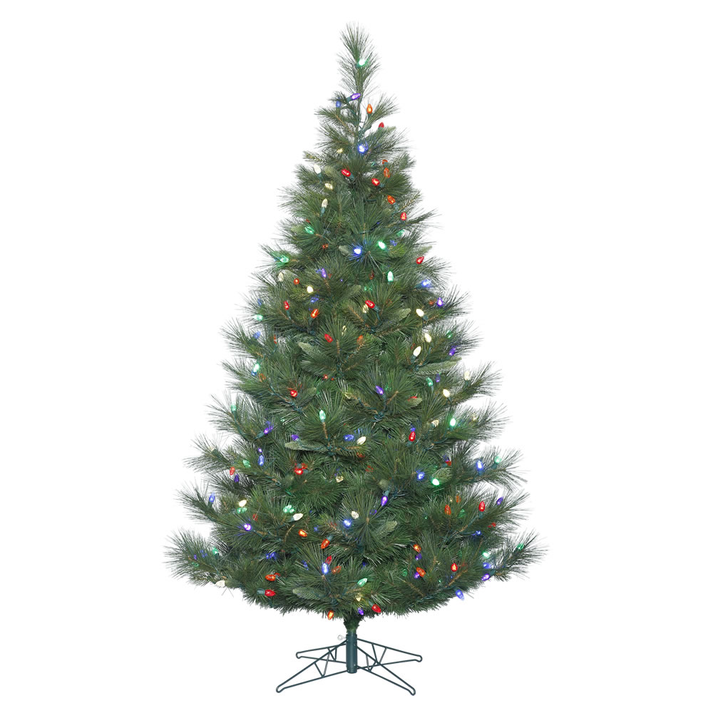 7.5 Foot Norway Pine Artificial Christmas Tree 375 LED C7 Multi Color Lights