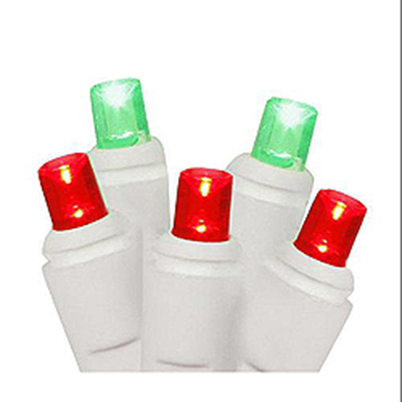 50 Commercial Grade LED Red And Green Christmas Light Set White Wire