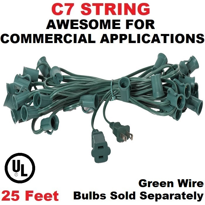 25 Foot C7 Socket Christmas Light Set 12 Inch Spacing Green Wire