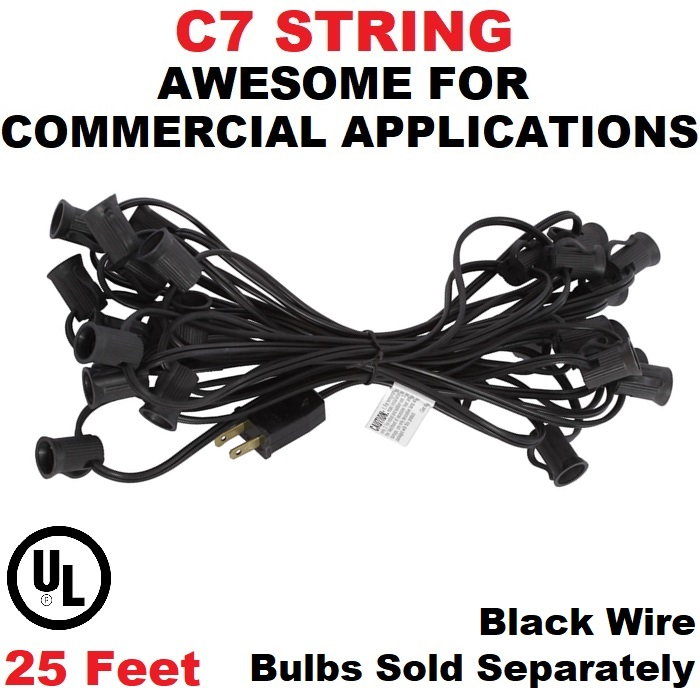 25 Foot C7 Socket Christmas Light Set 12 Inch Spacing Black Wire