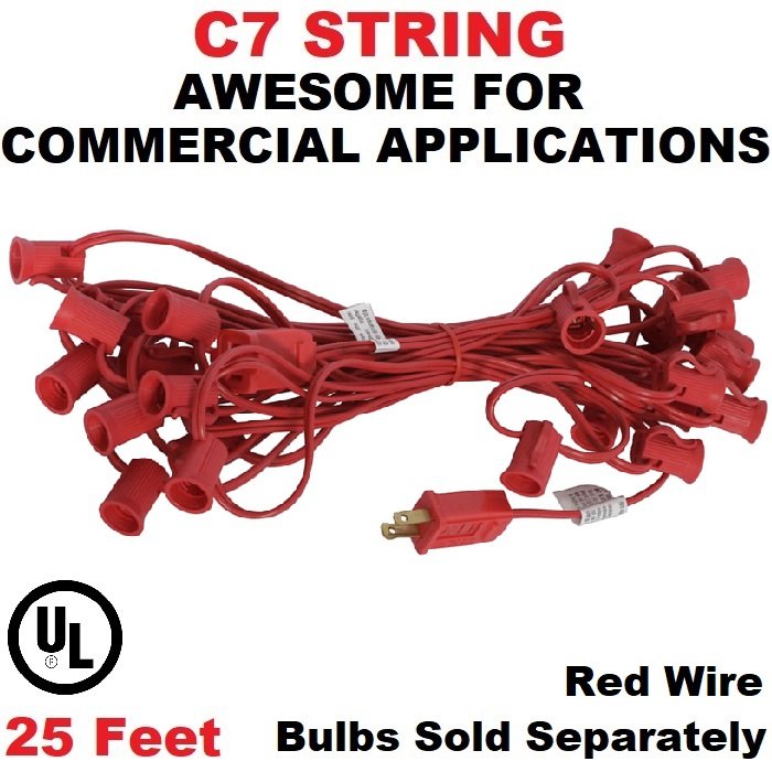 25 Foot C7 Socket Christmas Light Set 12 Inch Spacing Red Wire