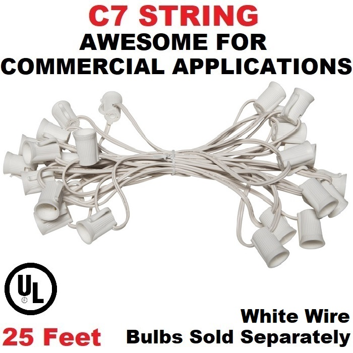 25 Foot C7 Socket Christmas Light Set 12 Inch Spacing White Wire