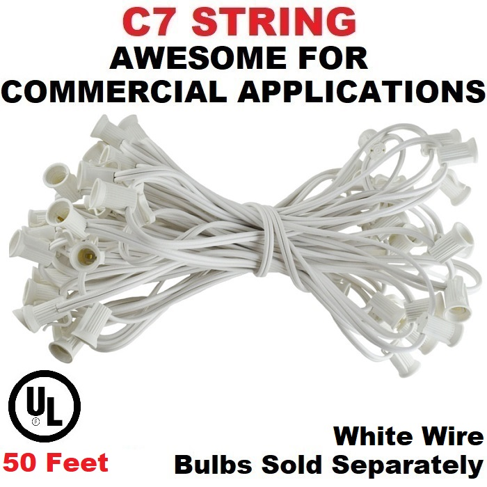 50 Foot C7 Socket Christmas Light Set 12 Inch Spacing White Wire