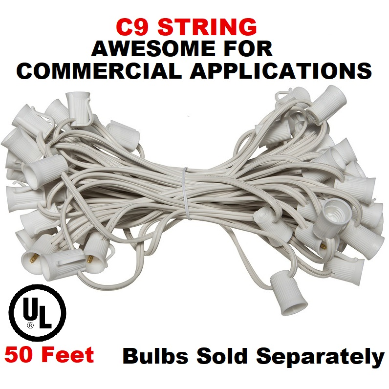 50 Foot C9 Socket Christmas Light Set 12 Inch Spacing White Wire