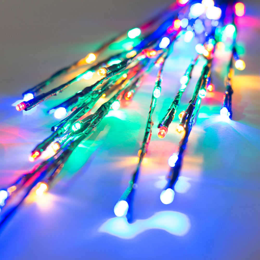 60 LED 5MM Wide Angle Multi Color Christmas Twig Lights Brown Wire - 3 per Set