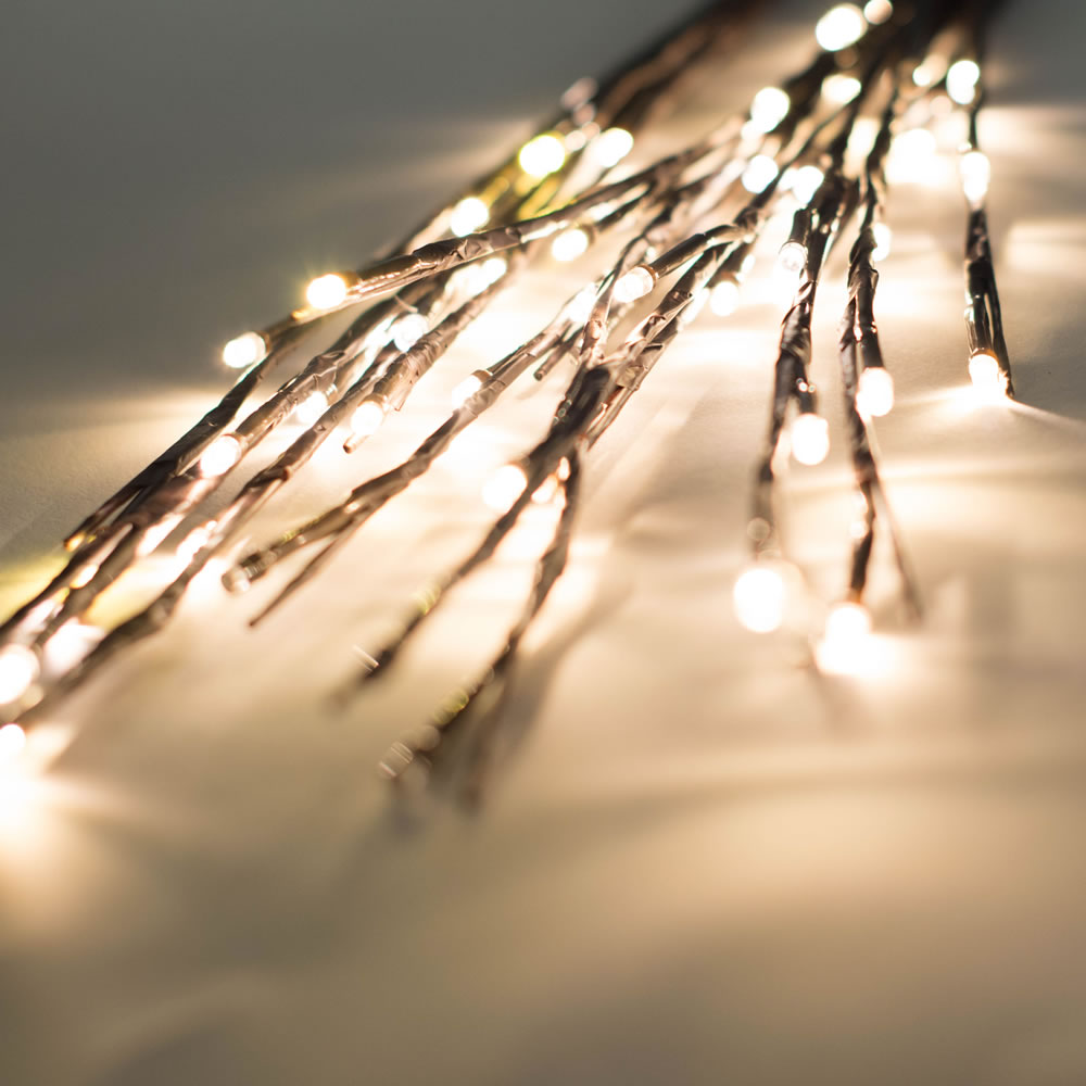 60 LED 5MM Wide Angle Warm White Christmas Twig Lights Brown Wire - 3 per Set