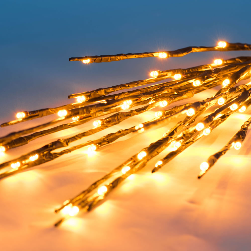 60 LED 5MM Wide Angle Gold Christmas Twig Lights Brown Wire - 3 per Set