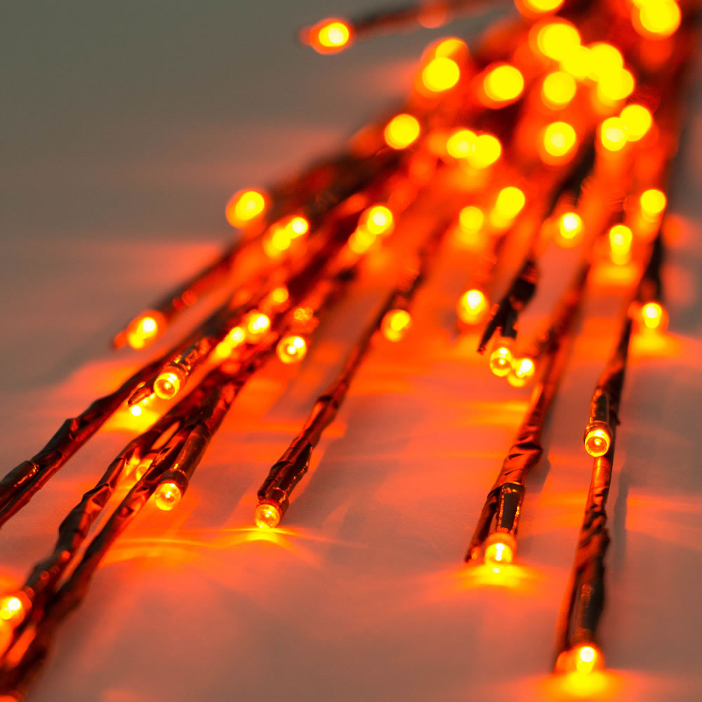 60 LED 5MM Wide Angle Orange Halloween Twig Lights Brown Wire - 3 per Set