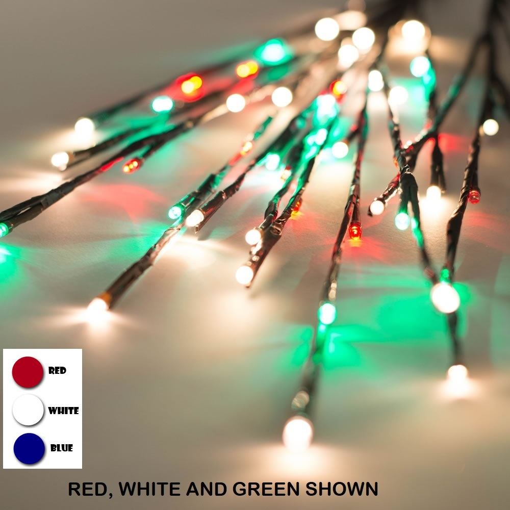 60 LED 5MM Wide Angle Red White and Blue Patriotic Twig Lights Brown Wire - 3 per Set