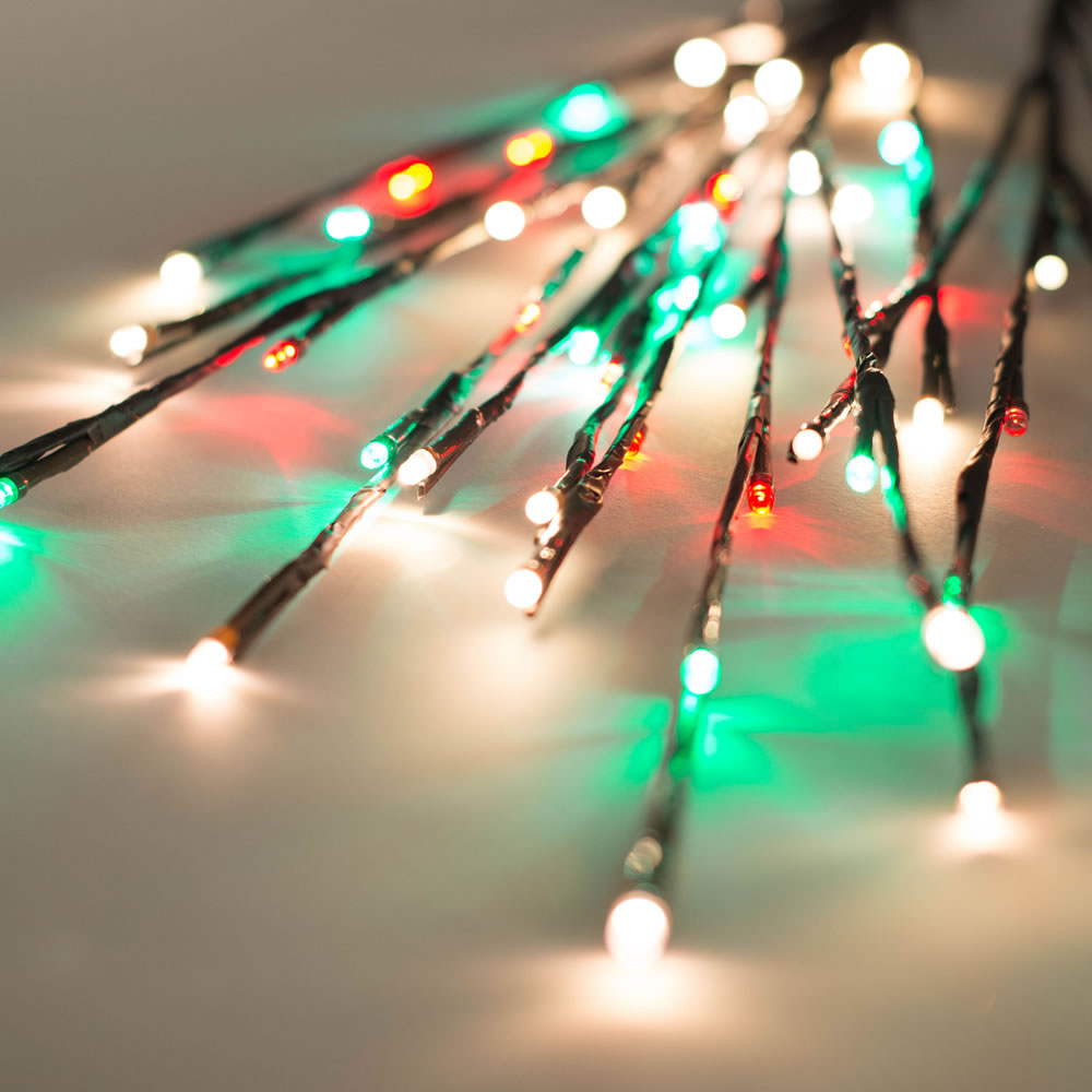 60 LED 5MM Wide Angle Red Frosted Warm White and Green Christmas Twig Lights Brown Wire - 3 per Set