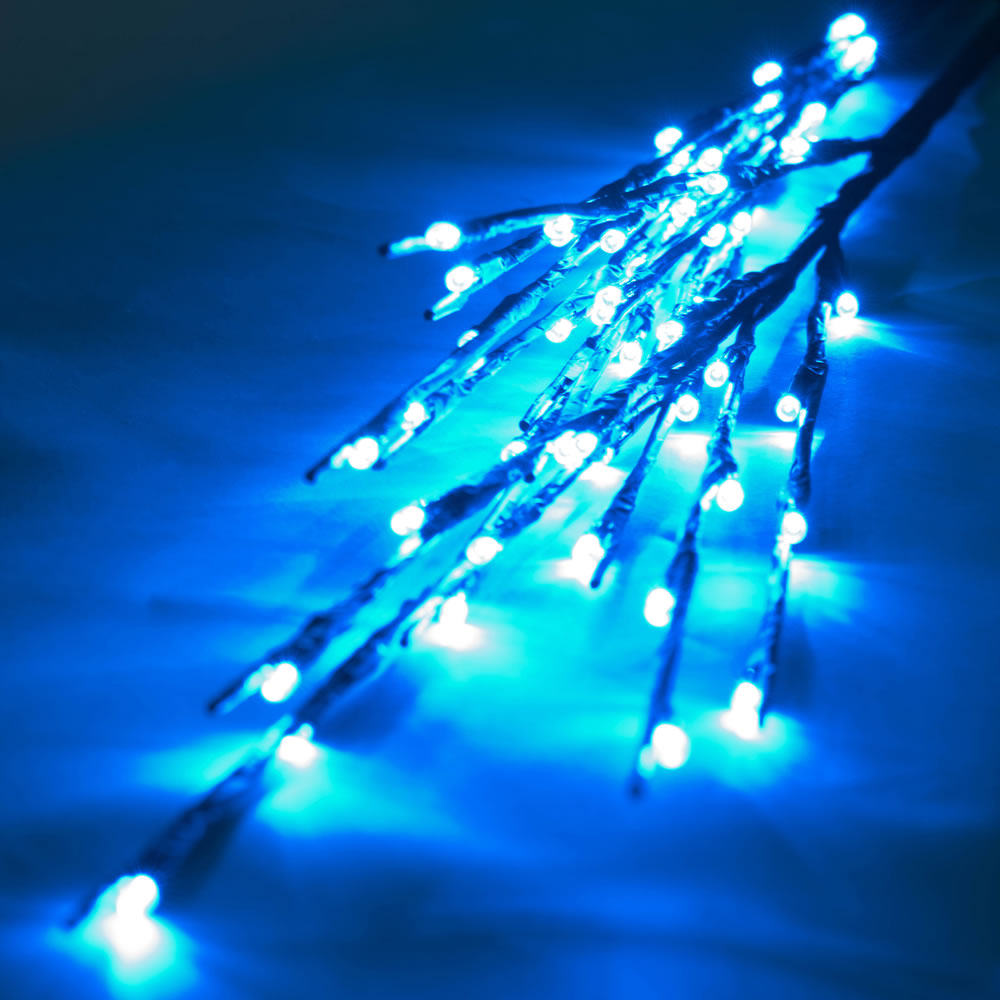 60 LED 5MM Wide Angle Teal Christmas Twig Lights Brown Wire - 3 per Set