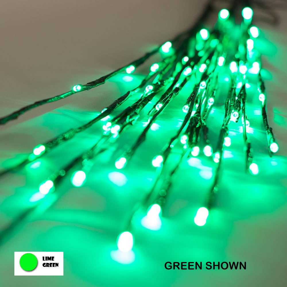 60 LED 5MM Wide Angle Lime Green Halloween Twig Lights Brown Wire - 3 per Set