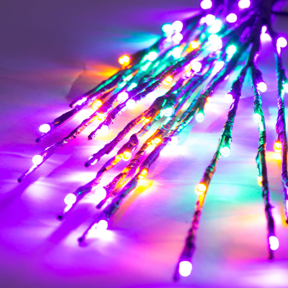 60 LED 5MM Wide Angle Purple Gold and Green Mardi Gras Twig Lights Brown Wire - 3 per Set