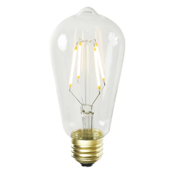 1 LED ST58 Glass Edison Bulb Transparent Warm White Filament E26 Socket 3.2 Watt Retrofit Replacement Bulbs