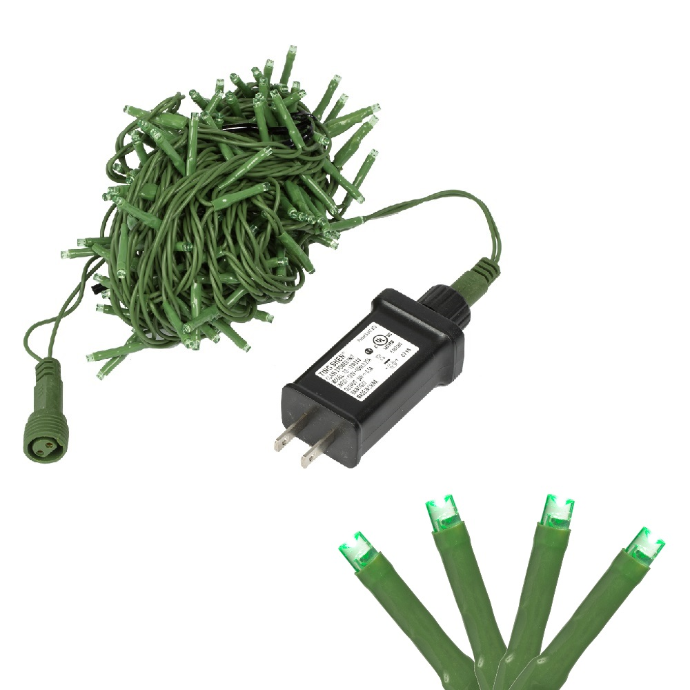Green 100/' X6G8804 Vickerman 200 LED Light Set on n Wire with a Spool 6 Bulb Spacing 100