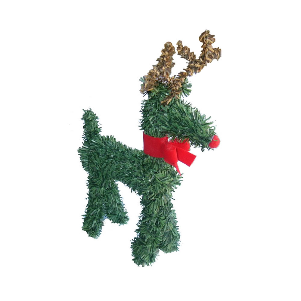 4 Inch Reindeer with Red Bow Christmas Ornament