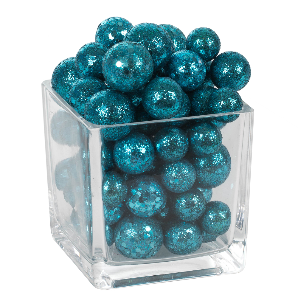 Turquoise Glitter Sequin Styrofoam Ball Assorted Sizes
