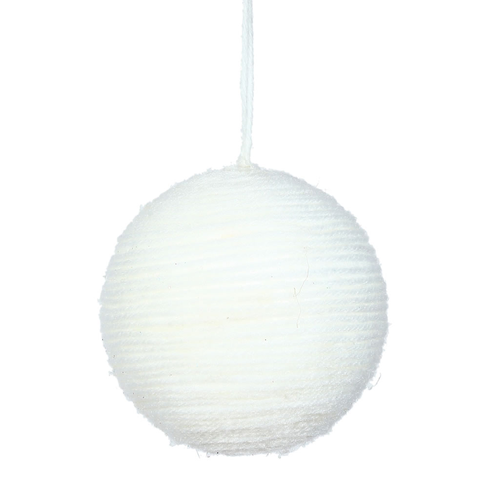 3 Inch White Yarn Round Christmas Ball Ornament
