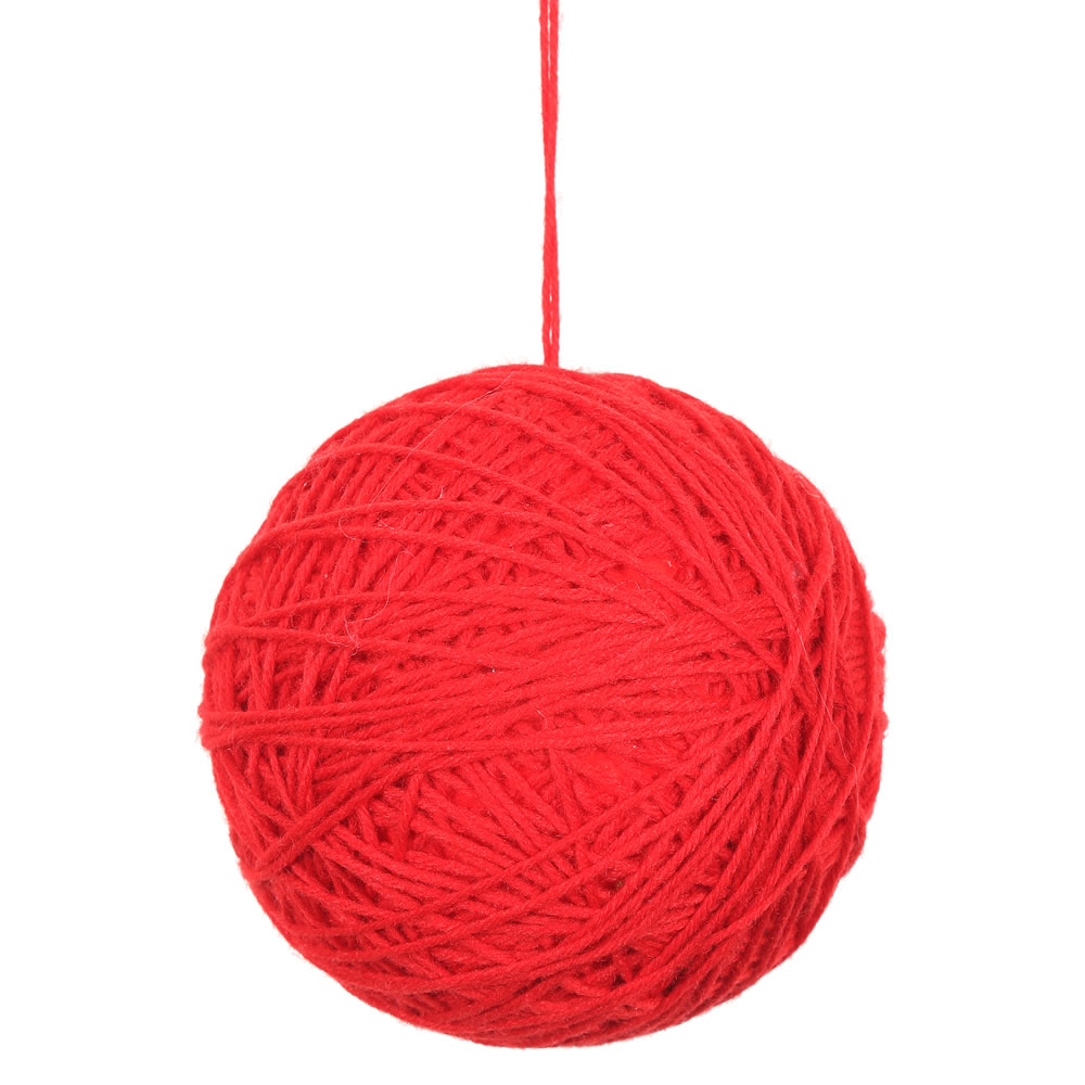 3 Inch Red Yarn Round Christmas Ball Ornament