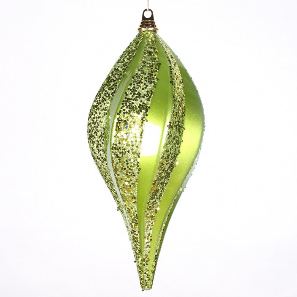 8 Inch Lime Green Candy Glitter Swirl Drop Christmas Ornament