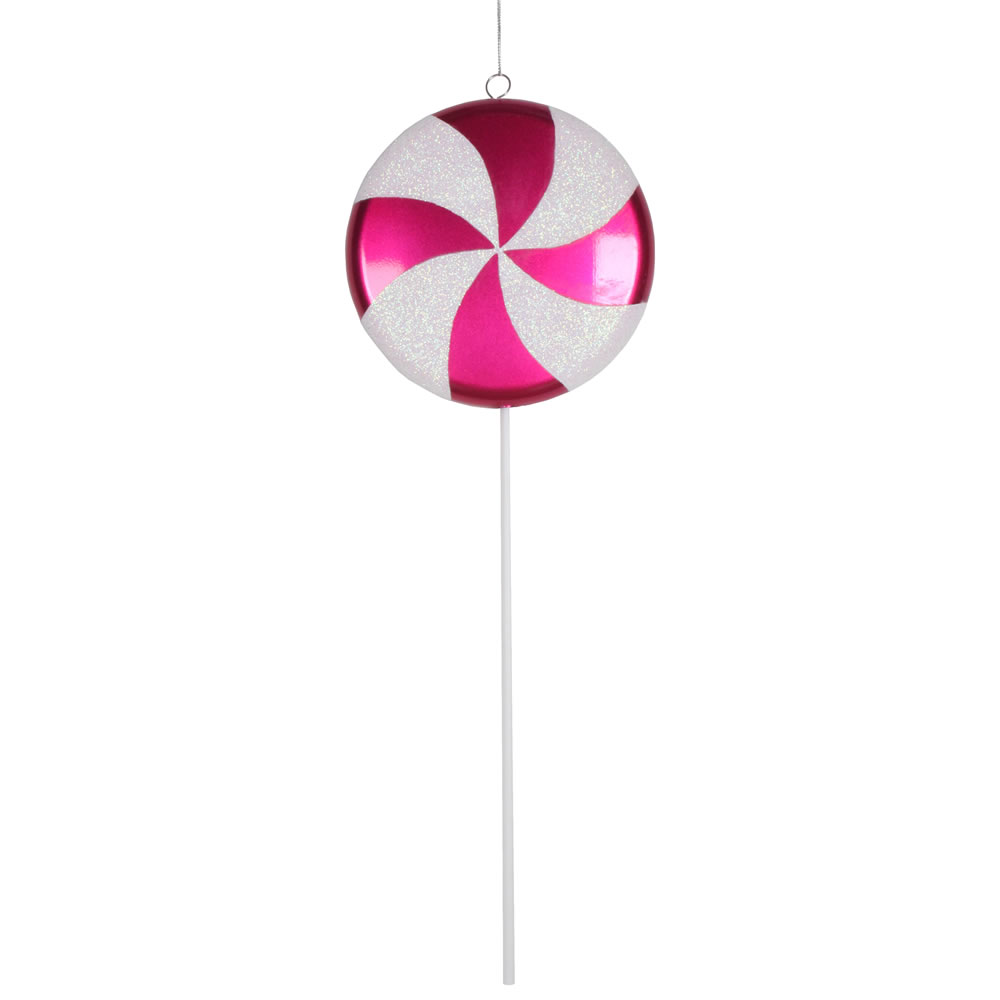 17 Inch Cerise Pink White Stripe Candy Iridescent Glitter Lollipop Christmas Ornament