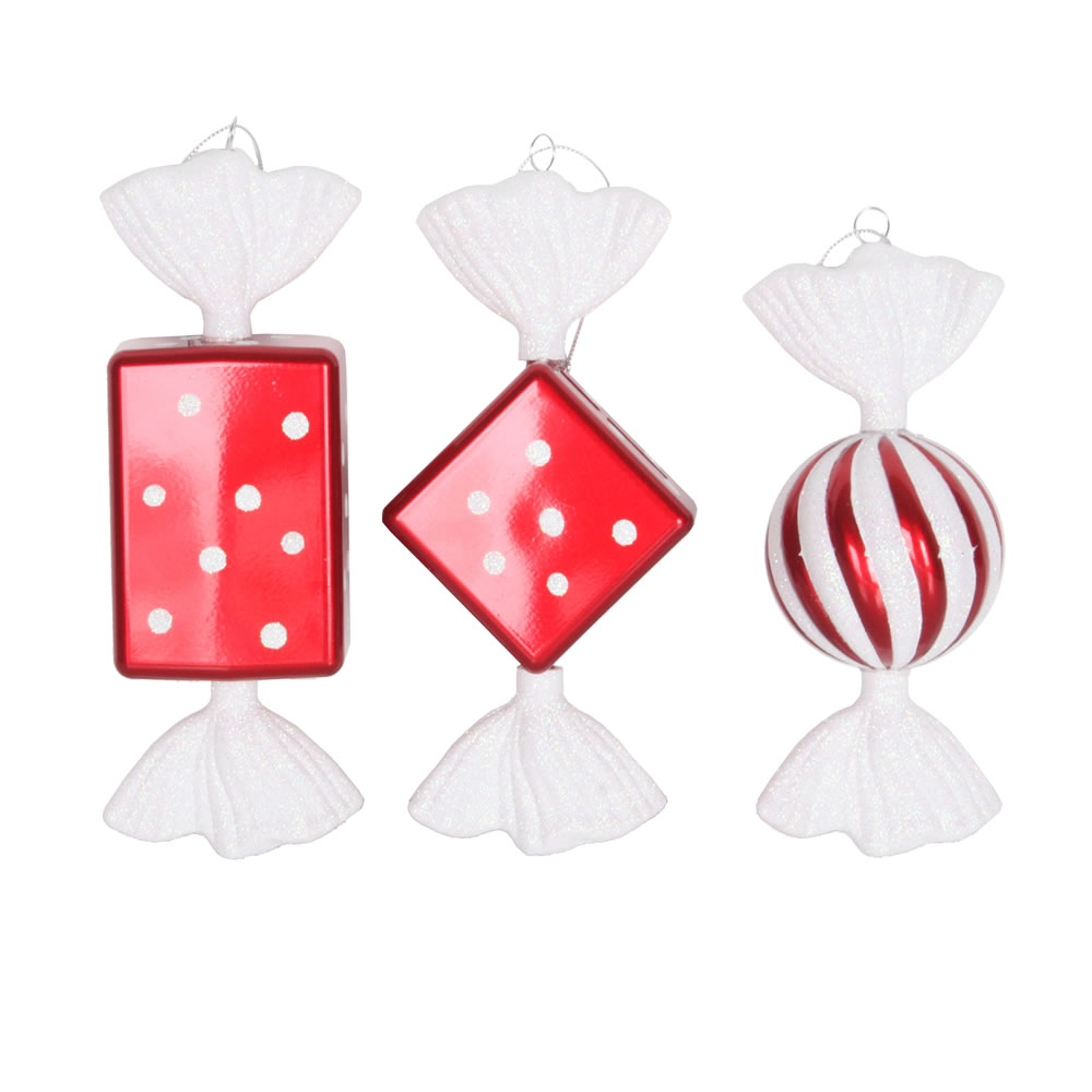 8 Inch Red Candy Glitter Christmas Ornaments