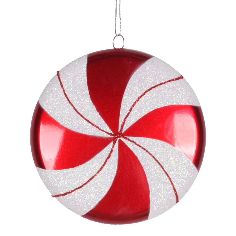 6 Inch Red White Swirl Peppermint Candy Christmas Ornament