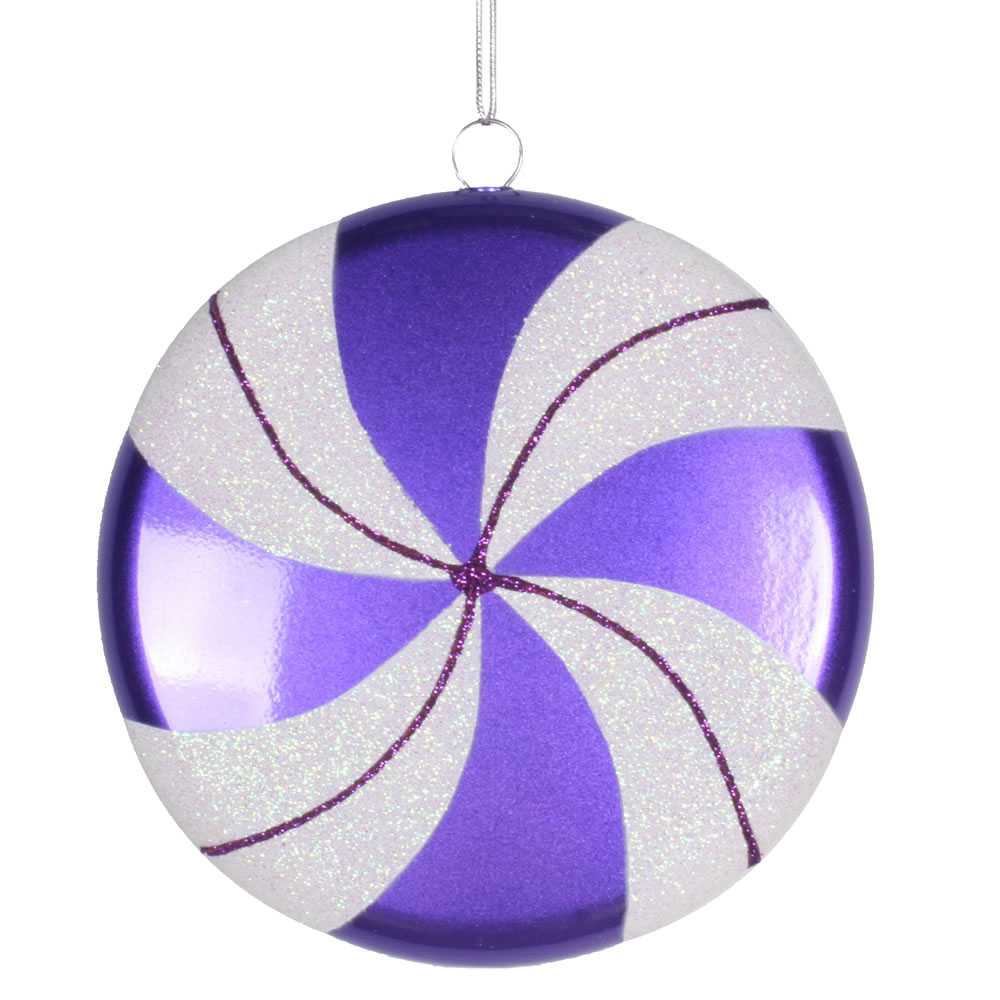 6 Inch Purple White Swirl Peppermint Candy Christmas Ornament
