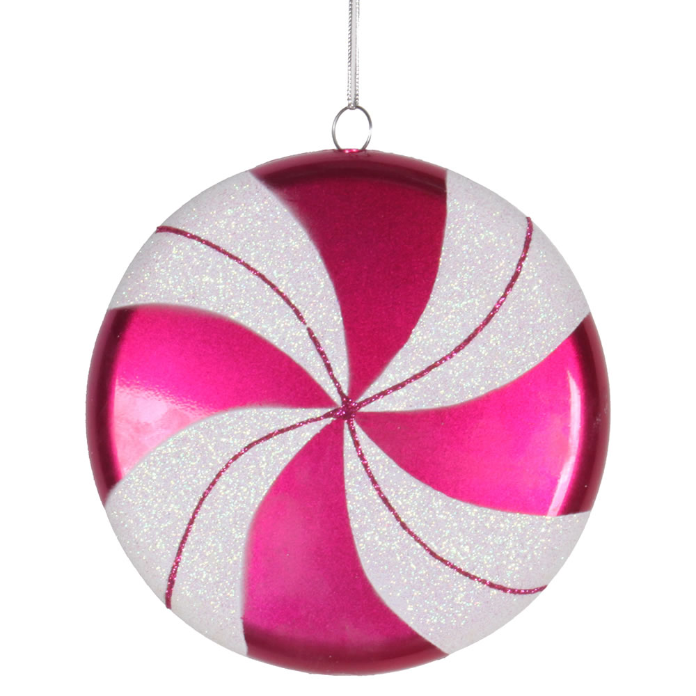 6 Inch Cerise White Swirl Peppermint Candy Christmas Ornament