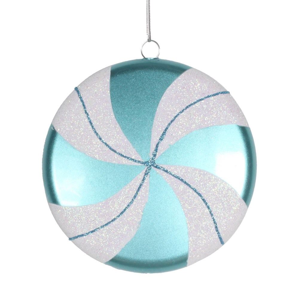 6 Inch Teal White Swirl Peppermint Candy Christmas Ornament
