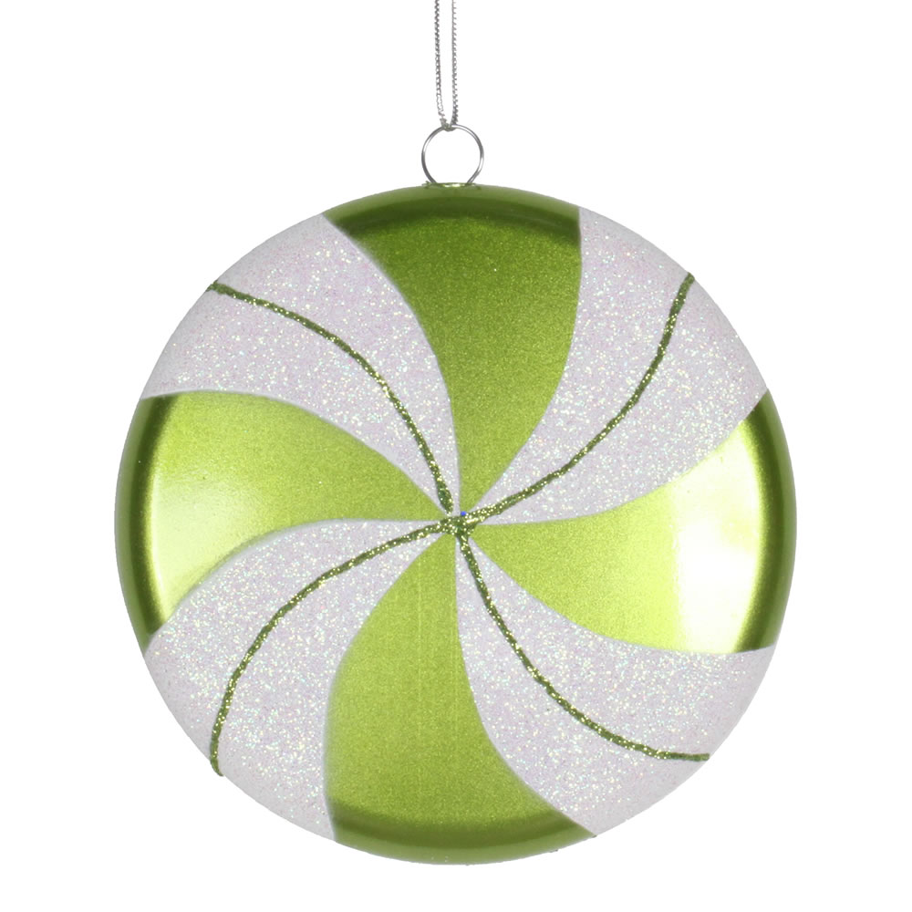 6 Inch Lime Green White Swirl Peppermint Candy Christmas Ornament