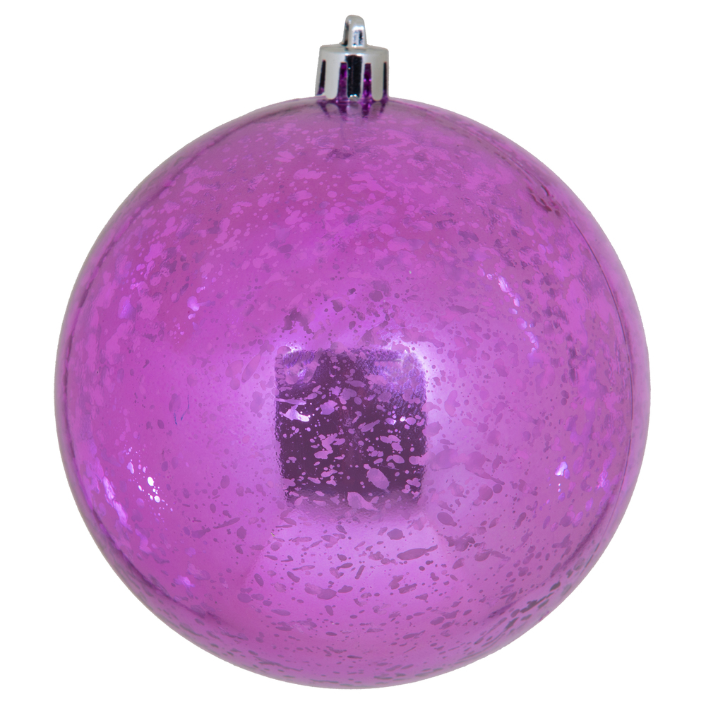 4 Inch Orchid Shiny Mercury Round Christmas Ball Ornament Shatterproof