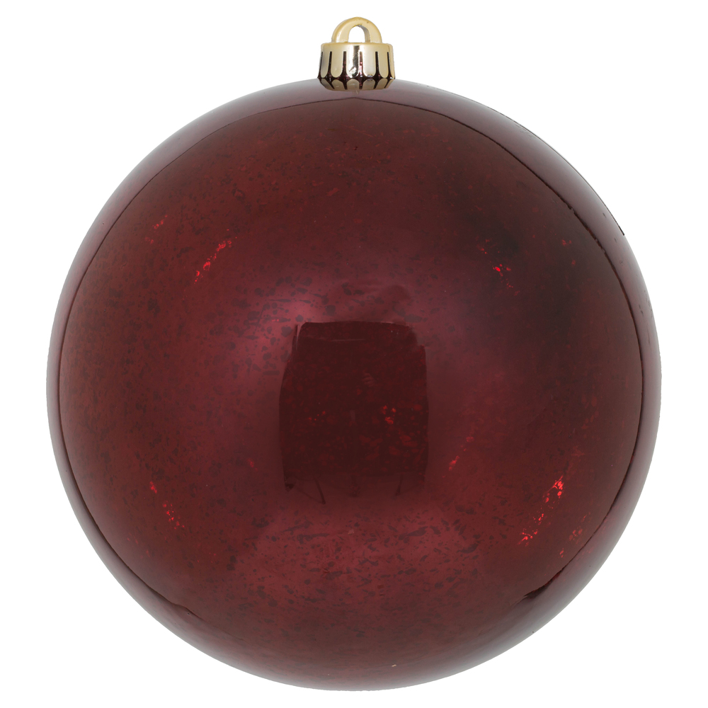 8 Inch Burgundy Shiny Mercury Christmas Ball Ornament Shatterproof