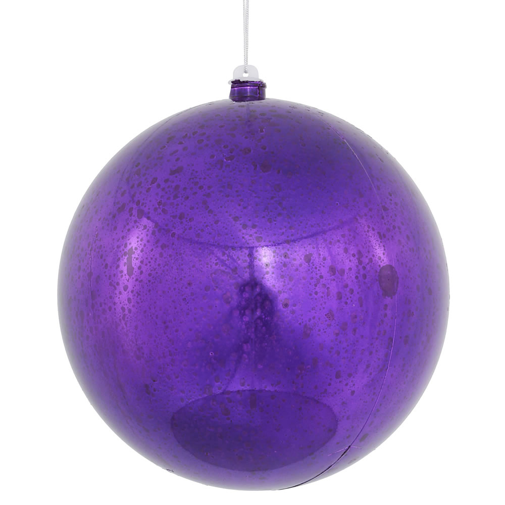 8 Inch Purple Shiny Mercury Christmas Ball Ornament Shatterproof